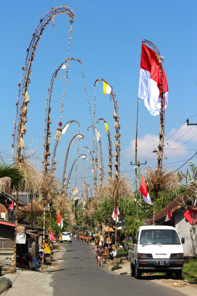 view of a decorated street