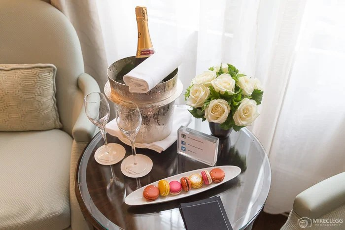 Flowers and champagne at Prince de Galles
