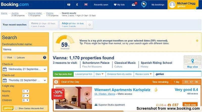 Captura de tela do Booking.com