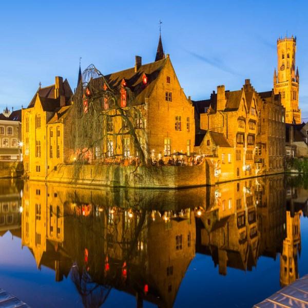 Bruges, Belgium at night