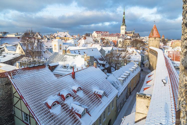 Vista da Torre Hellemann e da Muralha da Cidade