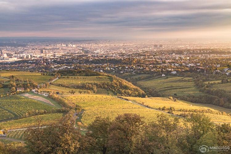 Vistas de Viena de Kahlenberg ao pôr do sol