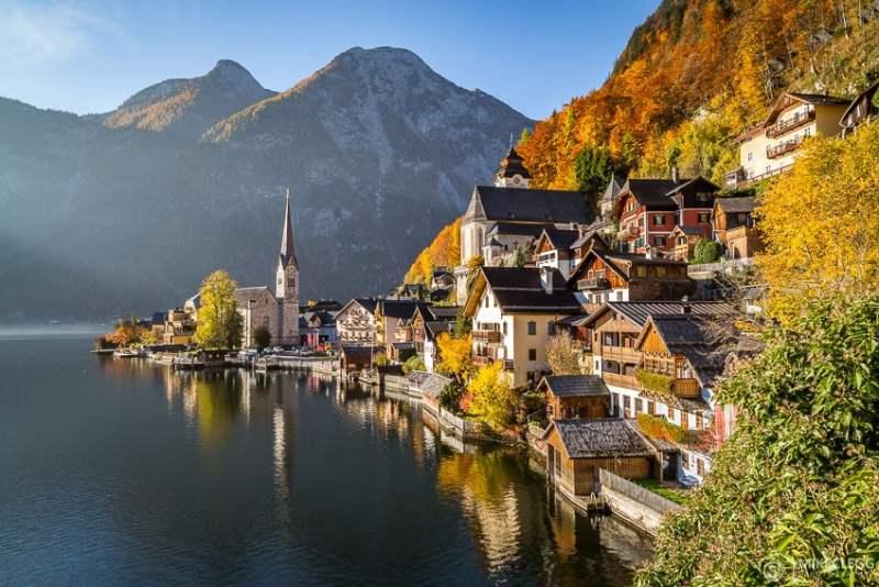 Lago Hallstatt, Áustria no verão