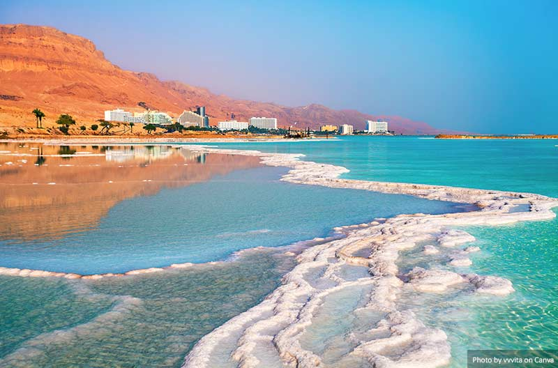 Costa de sal do Mar Morto, Israel