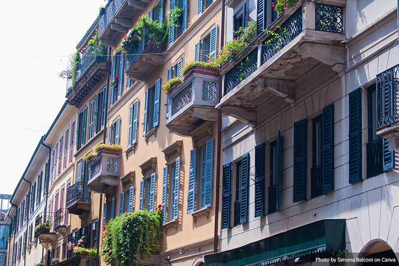 Casas da área de Brera em Milão