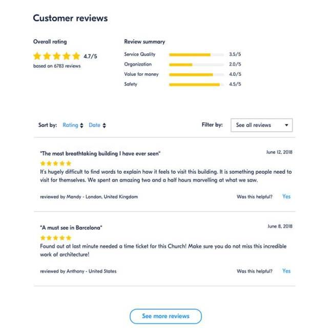 Exemplo de avaliações - GetYourGuide