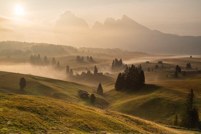 Belas paisagens nas Dolomitas italianas