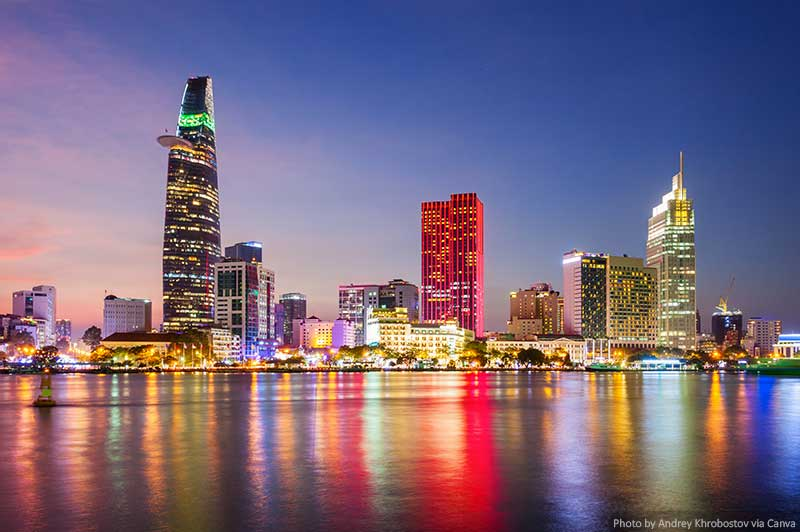 Horizonte da cidade de Ho Chi Minh à noite