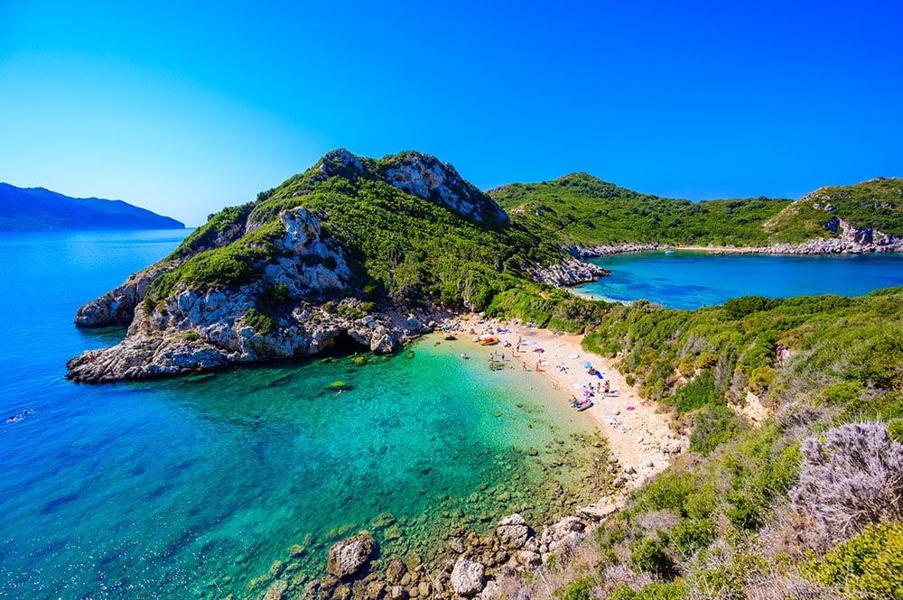 Praia de Porto Timoni, Corfu, Ilhas Gregas