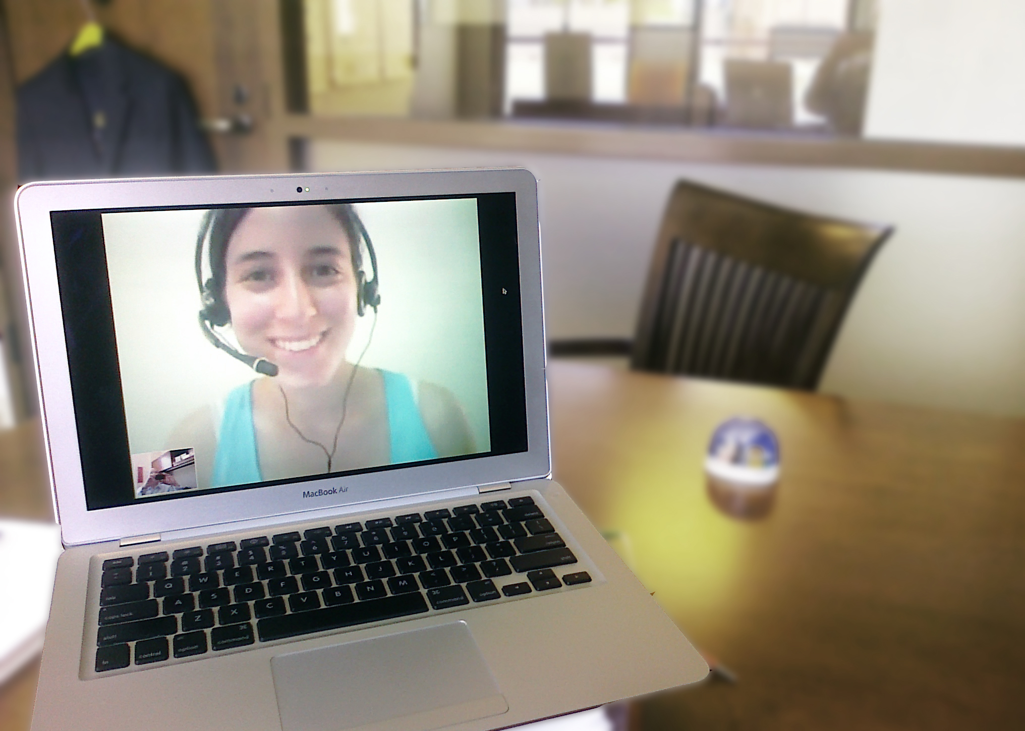 preparing for a Skype video interview with a Korean school