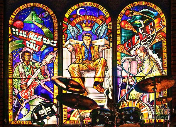 Stained glass window at Hard Rock Cafe, Cancun, Mexico