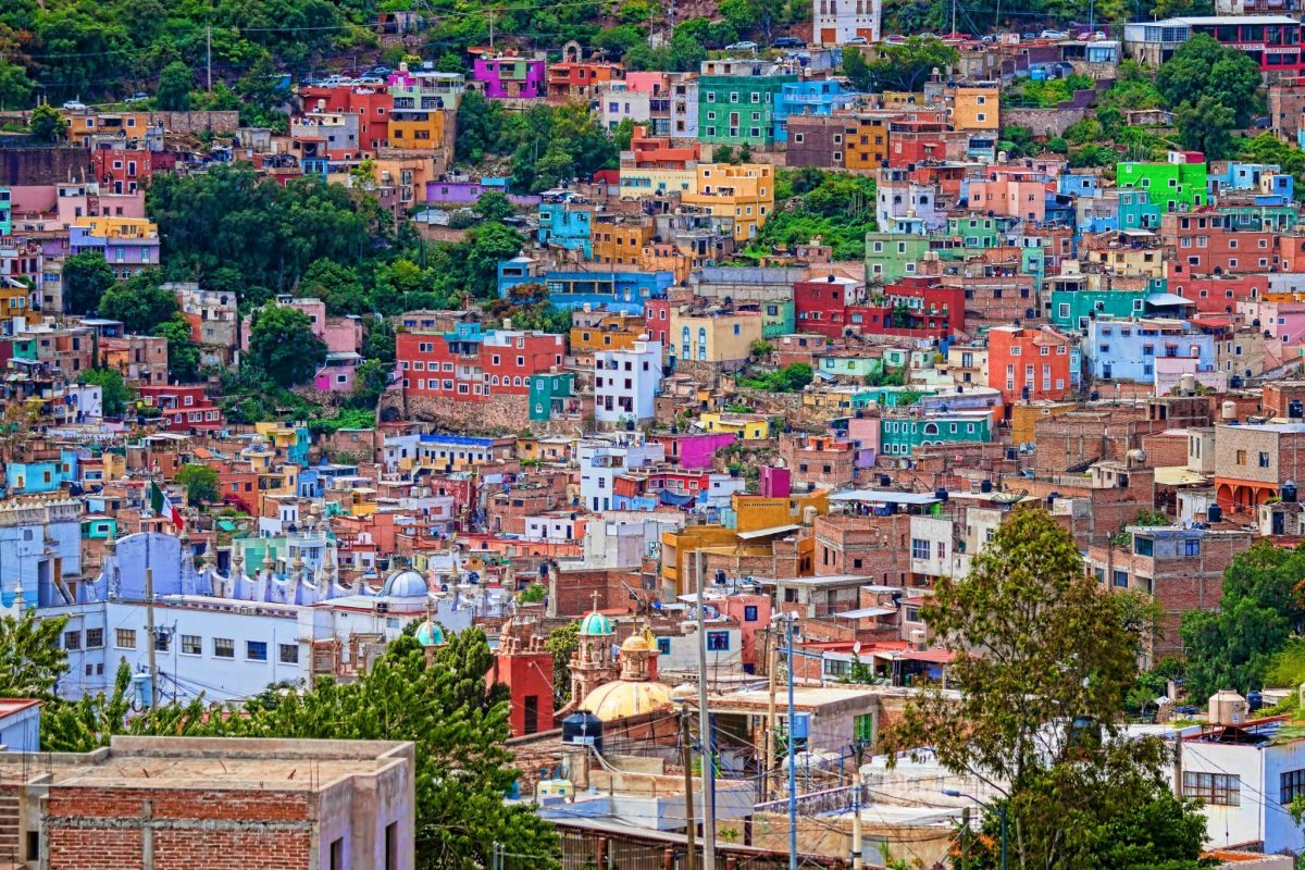 Colorful hilltop houses in Guanajuato, Mexico