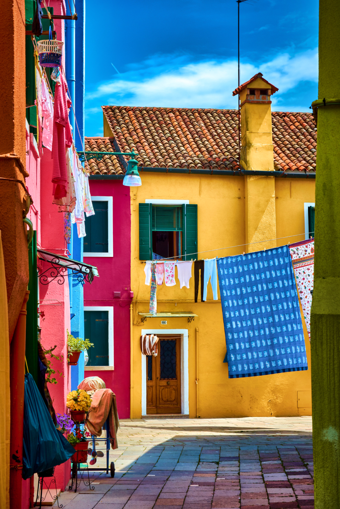 Colorful houses, a magical hidden alley in Burano, Italy