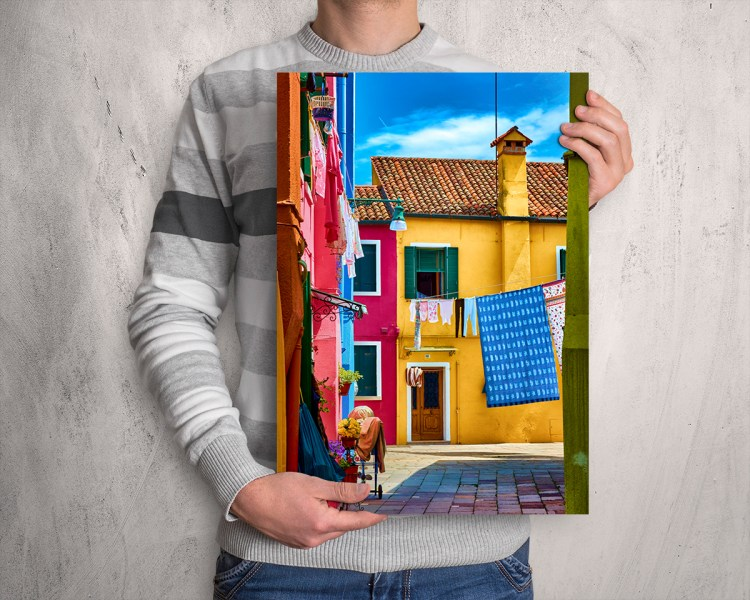 "Colorful houses in ""Hidden Magical Alley"" poster by Eduardo José Accorinti"