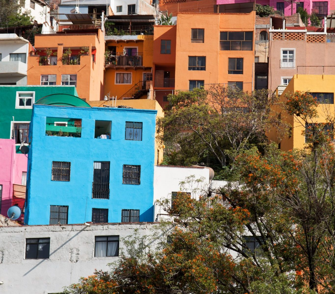 Colorful hilltop buildings in Guanajuato Mexico