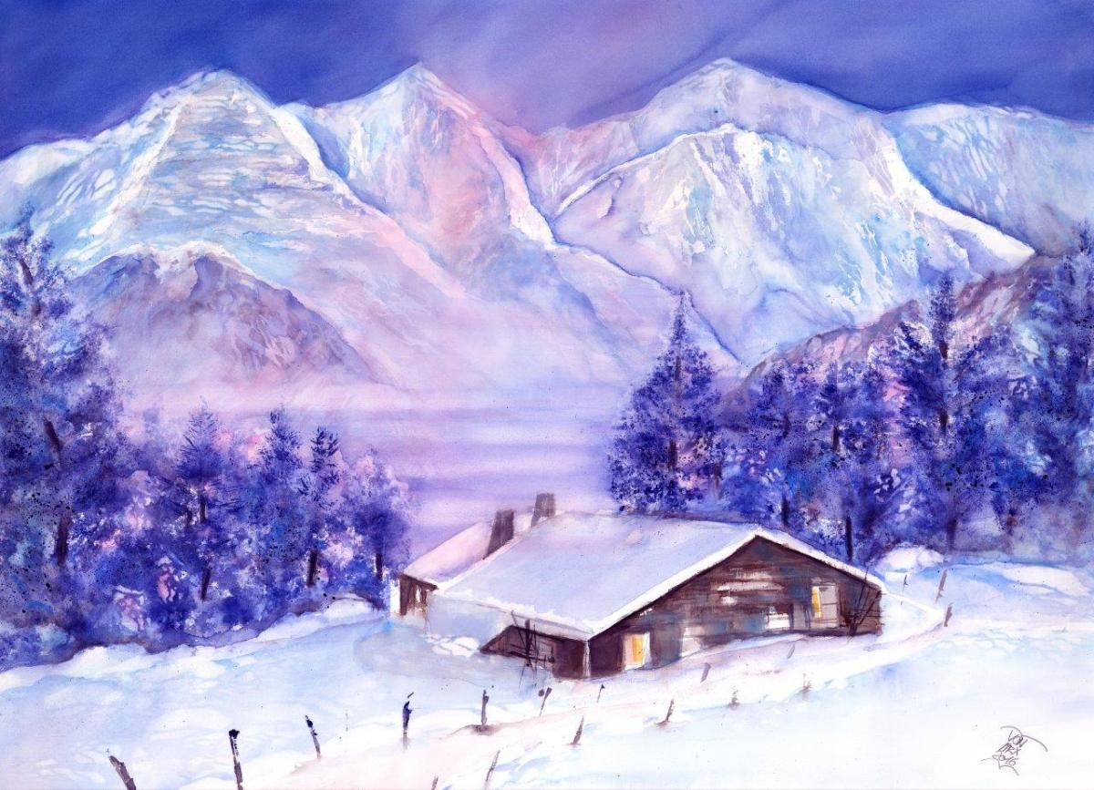Switzerland – Cabins in Snow Watercolor Paintings