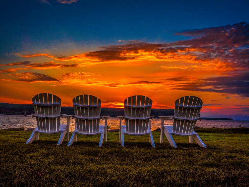 Four Chairs at Sunset in Door County