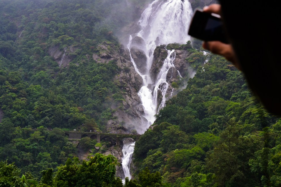 Dudhsagar falls from a train window