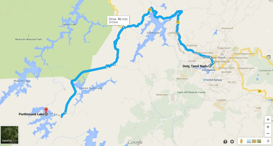 Map of lakes near Ooty
