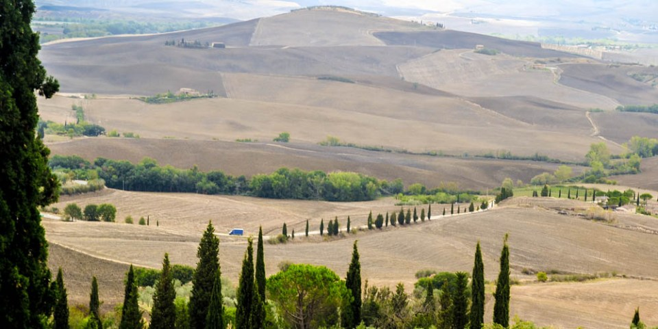 Rolling hills of Tuscany in Pienza