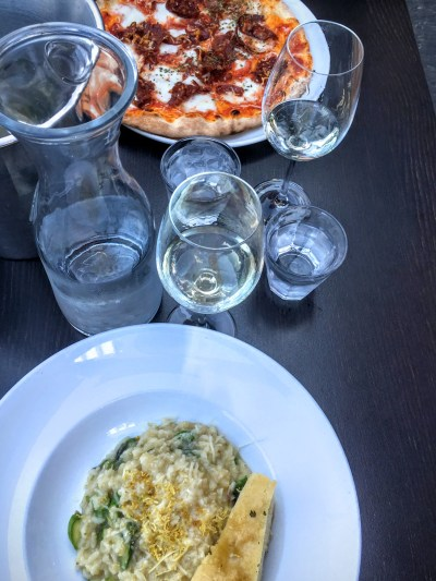 Pizza & Risotto at Olivia, a delicious restaurant on the water