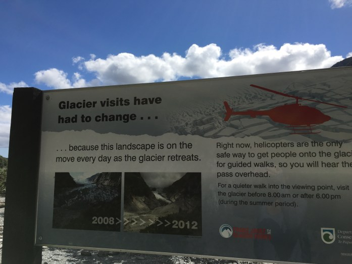Sign for Franz Josef Glacier, New Zealand