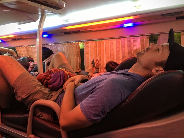 One of the times we probably should've splurged - the sleeper bus in Vietnam
