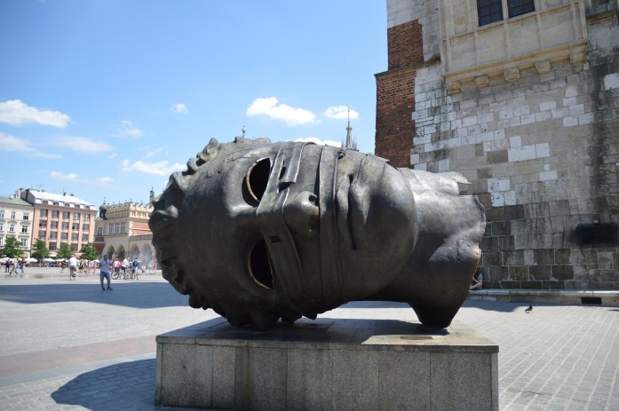 Big Head in the Square (Eros Bendato), Krakow, Poland