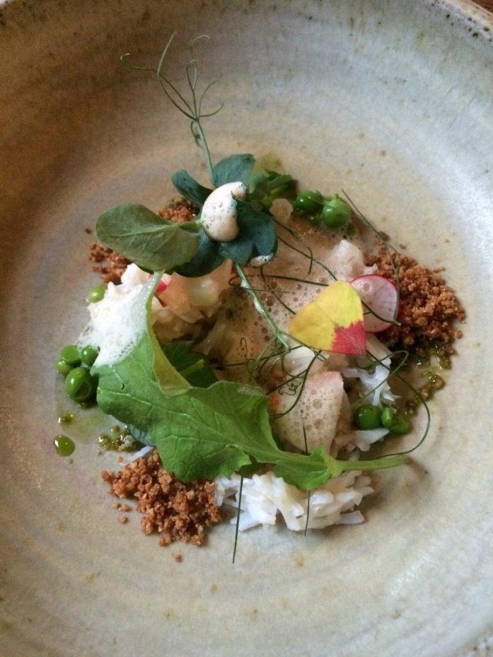 Crab and lobster and peas at Timberyard, Edinburgh, Scotland