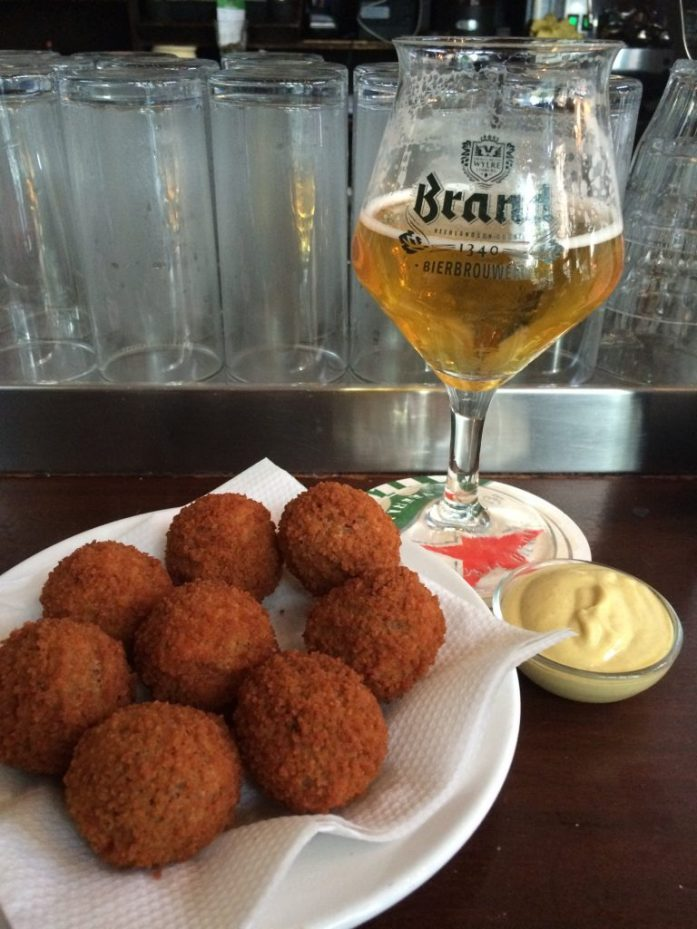 Bitterballen and Brand beer, De Blaffende Vis, Amsterdam, the Netherlands