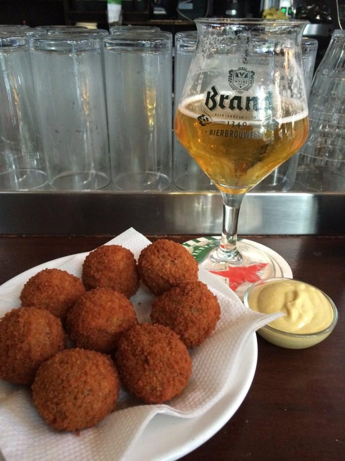 Bitterballen and Brand beer, De Blaffende Vis, Amsterdam, the Netherlands