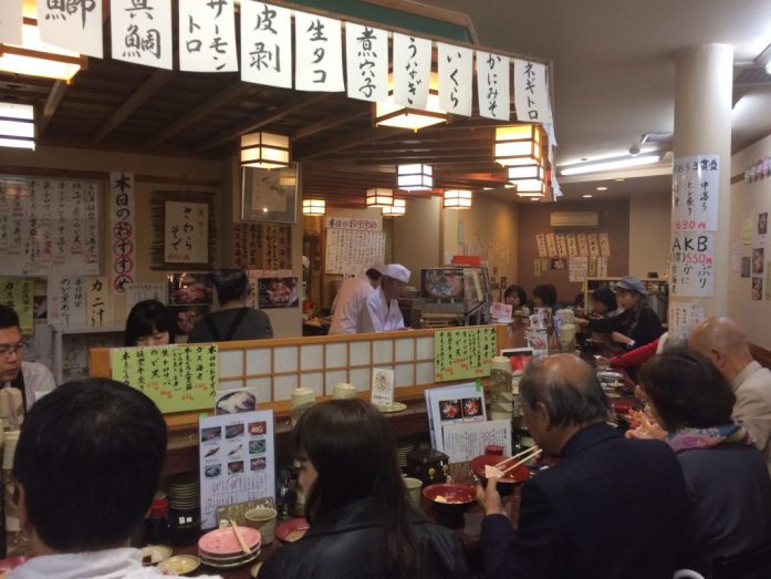 Sushi spot in Omicho Market, Kanazawa, Japan