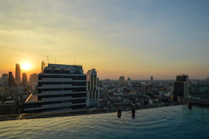 View from the Amara Bangkok rooftop pool, Thailand