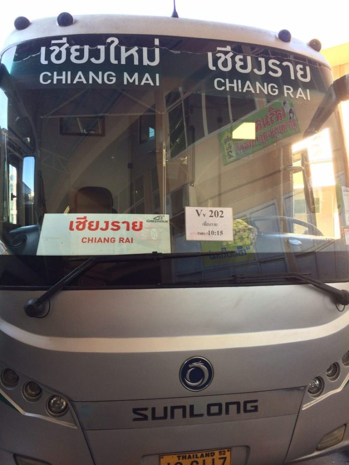 Greenbus from Chiang Mai to Chiang Rai In Thailand