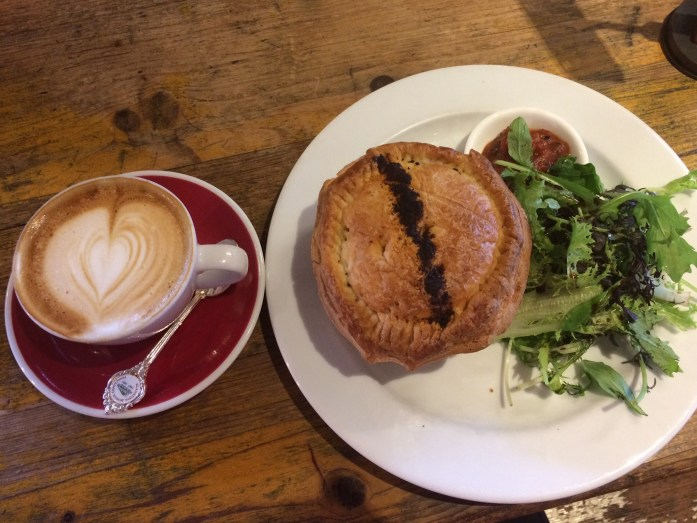 Lamb pie and flat white, Foxtrot Parlour, Auckland, New Zealand