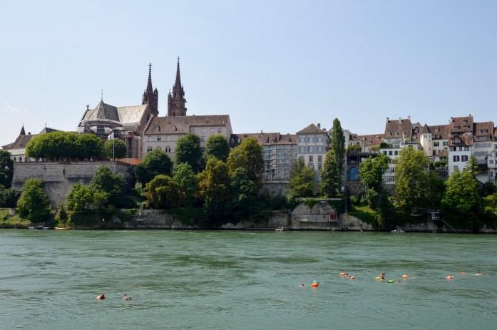 Locals Rheinschwimmen with Wickelfisch, Rhine River, Basel, Switzerland