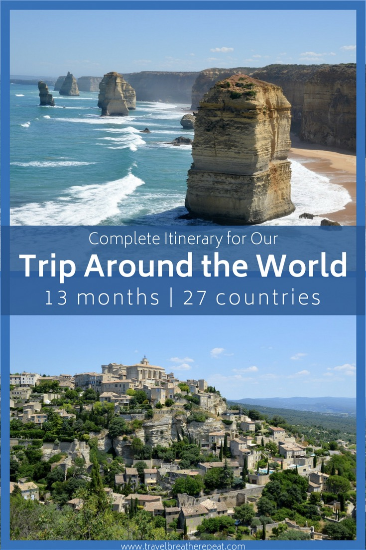 Complete itinerary for our trip around the world; ideas for where to go on a trip around the world; #travelplanning #travelinspiration #roundtheworldtrip