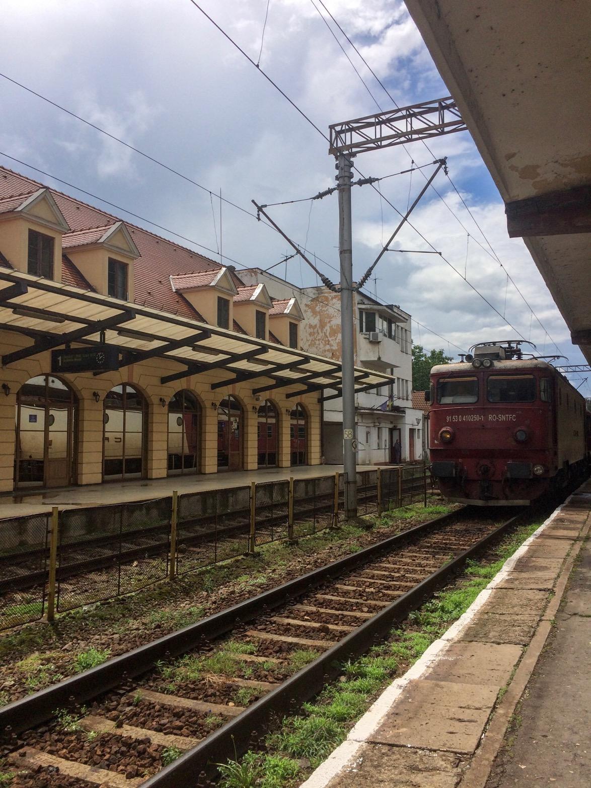 Train arriving in Romania