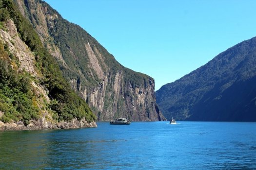 Boats at Milford Sound New Zealand