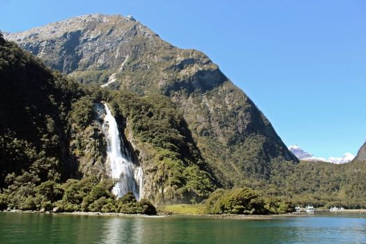 Waterfall at Milford Sound New Zealand