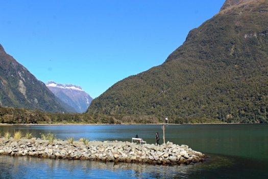 Views of bay and mountains at Freshwater Basin