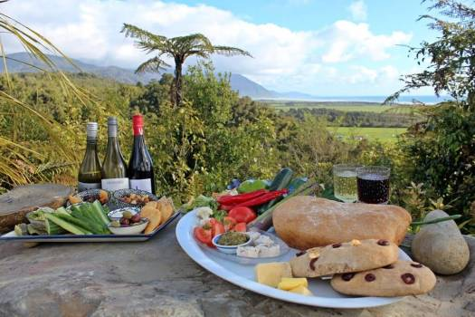 picnic on a rock in New Zealand