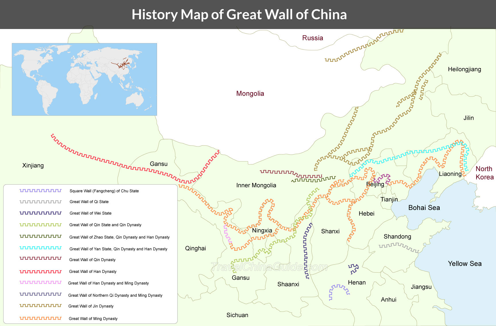 Great Wall Of China Map Location Maps In China Amp The