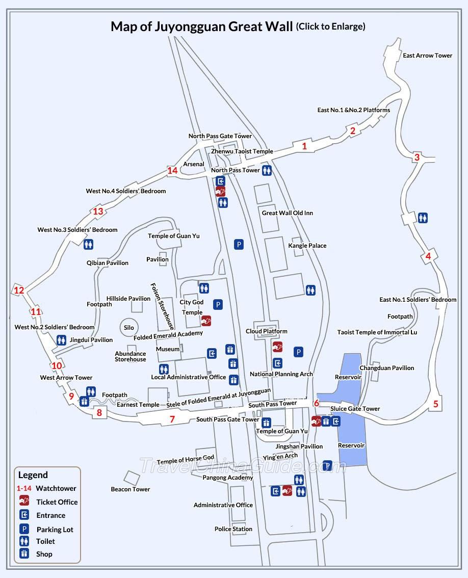 medium resolution of map of juyongguan great wall