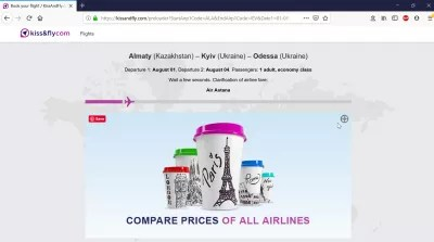 Kiss And Fly review of a flight booking : Redirection to KissAndFly website