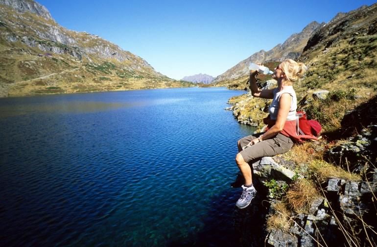Giglachsee, Wandern, Rast, Durst, Landschaft, Bergsee in den Schladminger Tauern, Dachstein-Tauern-Region, Steiermark