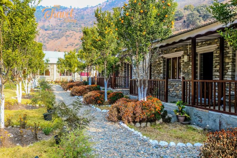 Lawn area of Dirang Boutique Cottages, Dirang, Arunachal Pradesh