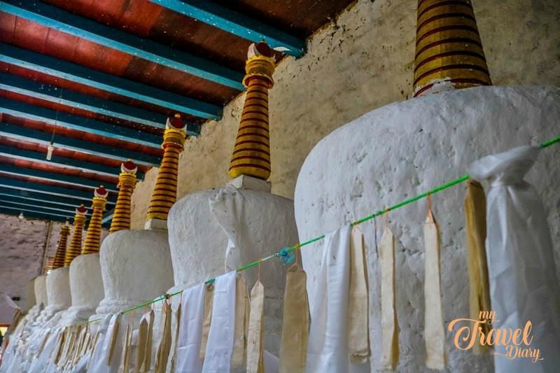 Ancient stupas at Urgelling Monastery in Tawang, Arunachal Pradesh