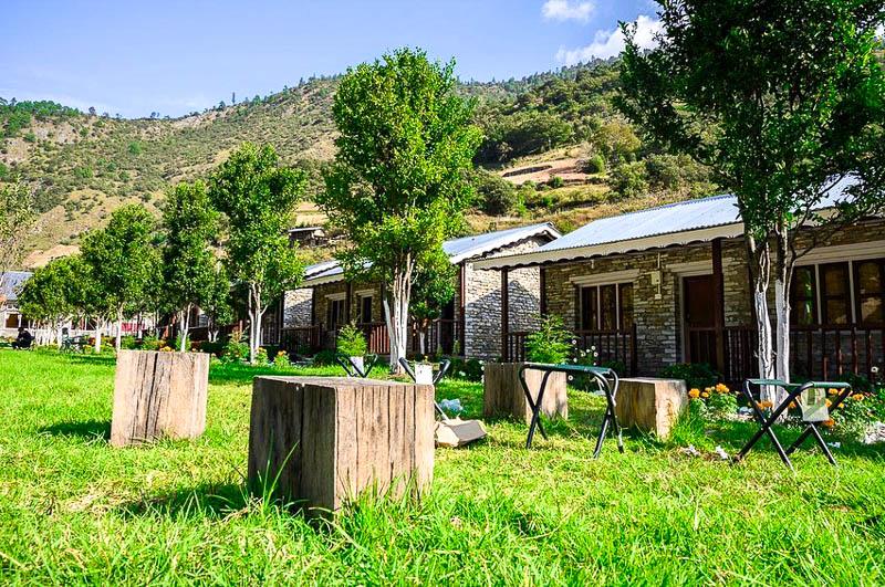 Green lawn of Dirang Boutique Cottages, Arunachal Pradesh