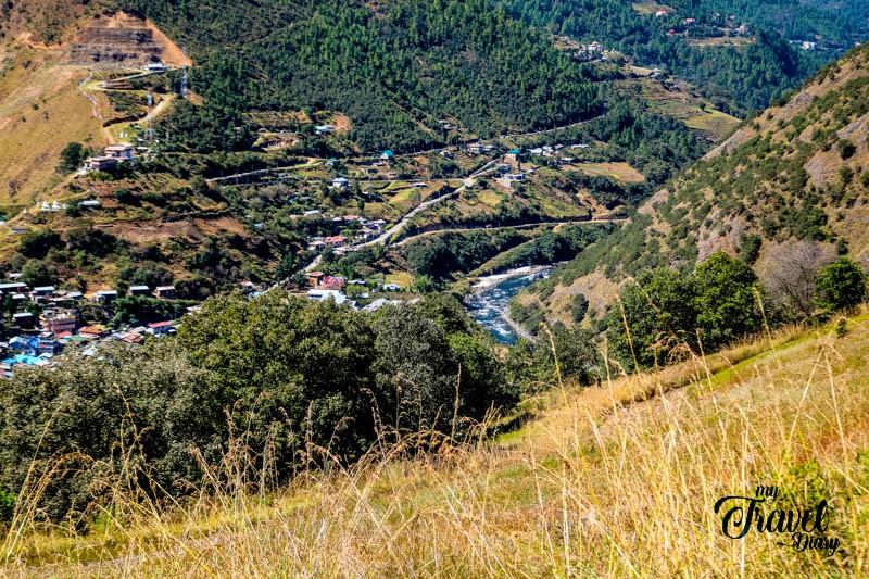 Aerial view of Dirang town